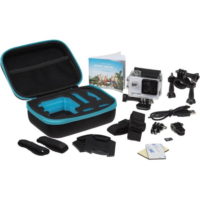 Set camera sport Kitvision Escape HD5 + accesorii (Memory Card & Travel Case), Negru