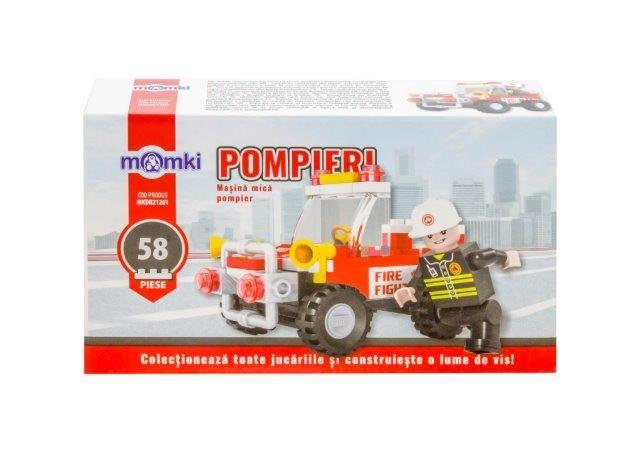 Momki-constructie,Pompieri,masina mica,58pcs