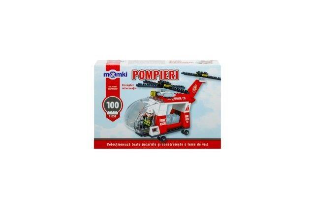 Momki-constructie,Pompieri,elicopter interventie,100pcs