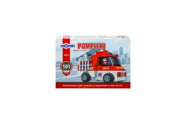 Momki-constructie,Pompieri,camion cu scara,101pcs
