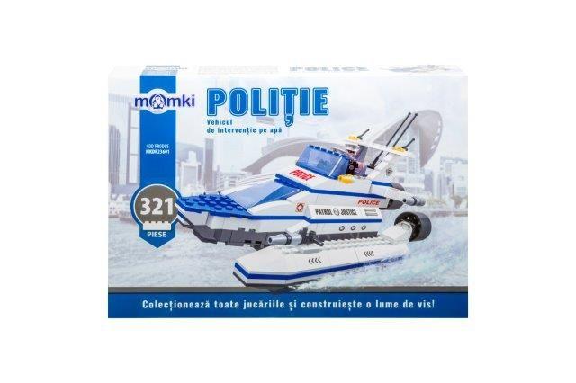 Momki-constructie,Politie,vehicul interv. pe apa,321pcs
