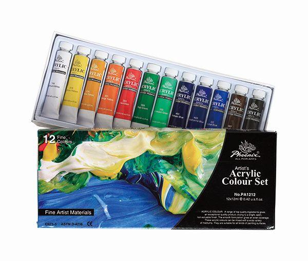 Tub culori acrilice,Pheonix,12ml,12cul/set