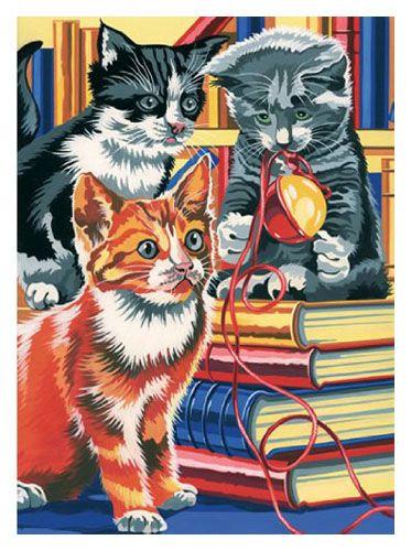 Pictura pe numere,Junior,Kitten on Books