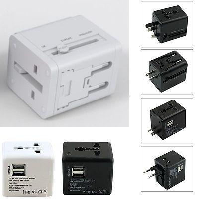 Adaptor travel cu USB, alb