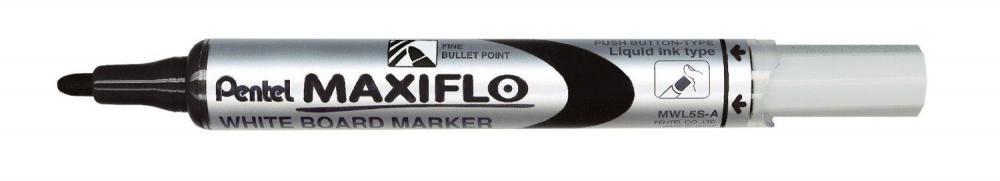Marker pt tabla Pentel Maxiflo, varf rotund 4mm, negru
