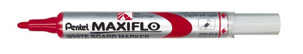 Marker pt tabla Pentel Maxiflo, varf rotund 4mm, rosu