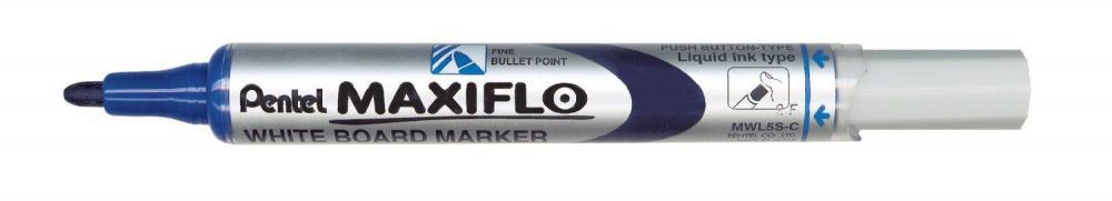 Marker pt tabla Pentel Maxiflo, varf rotund 4mm, albastru