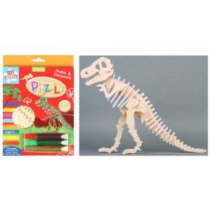 Set creativ puzzle 3D lemn,dinozauri