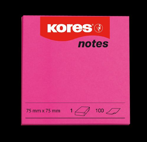 Notes 75x75,80/100file,neon rosu,Kores