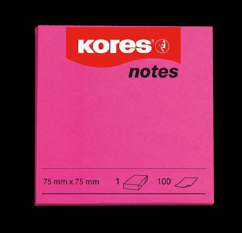 Notes 75x75,80/100file,neon rosu,Kores