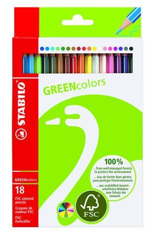 Creioane colorate,18b/set,StabiloGreen