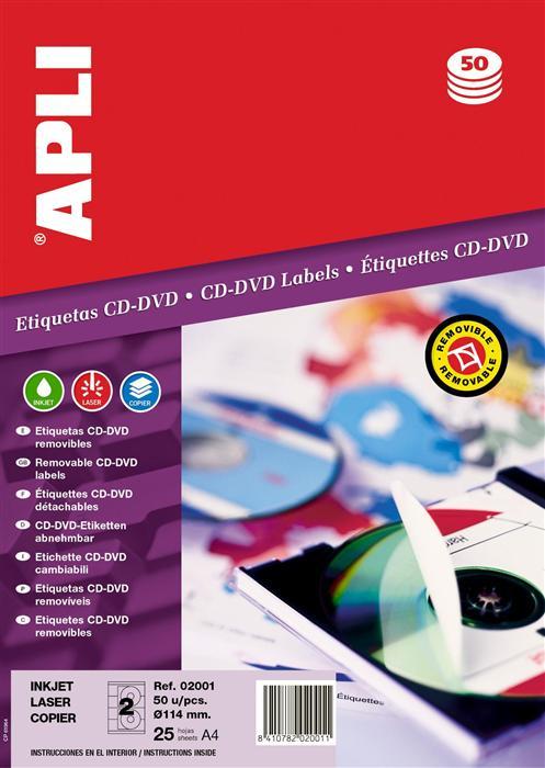 Etichete CD / DVD diam. 117 mm, 50 buc.