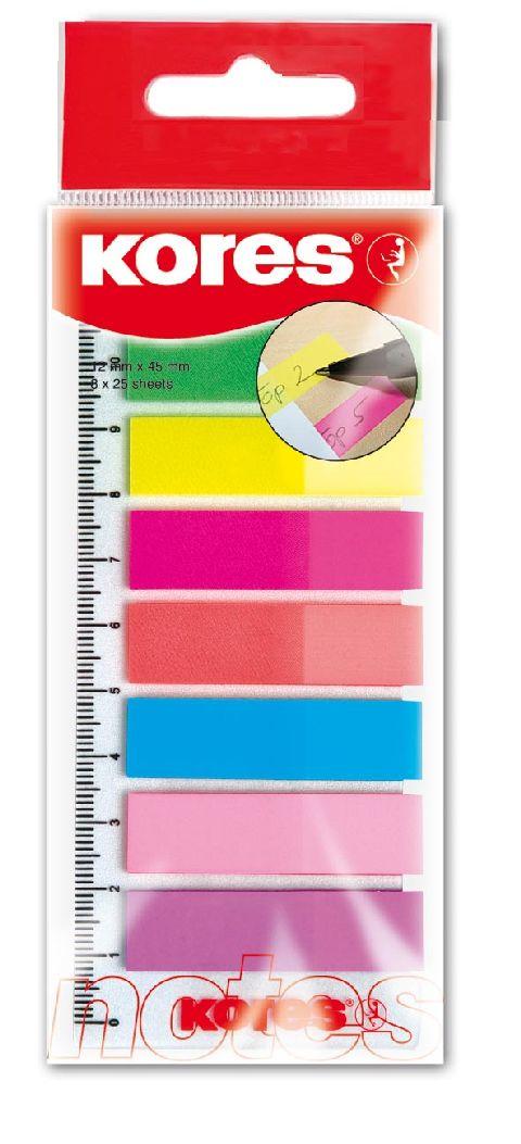 Index plastic 12x45mm 8 culori, 25file/culoar