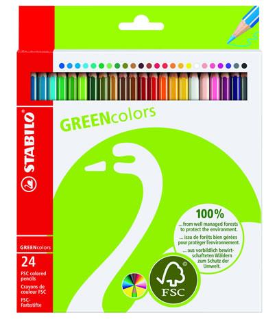 Creioane colorate,24b/set,Stabilo Green