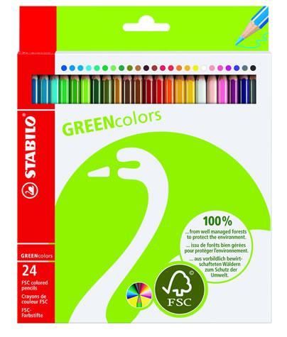 Creioane colorate,24b/set,Stabilo Green