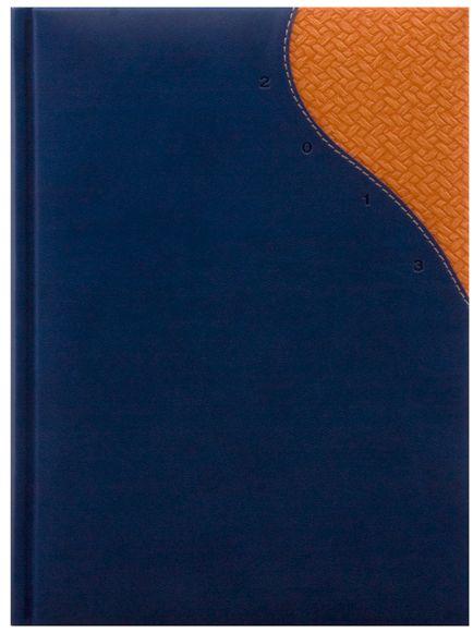 zzAgenda datata A4,Madras,saptamanala,128pag,ivoire,albastru/portocaliu