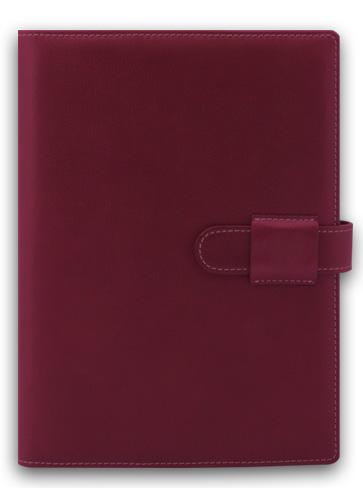 Agenda datata A5,Soft,din piele,zilnica,320pagini,h.ivory,rubiniu