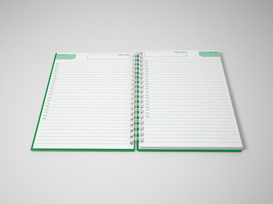 Agenda nedatata B5,notite repoz,verde