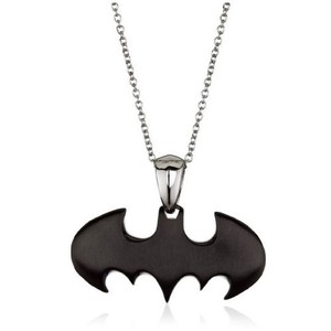 Batman Stainless Steel Pendant with Chain Black Logo