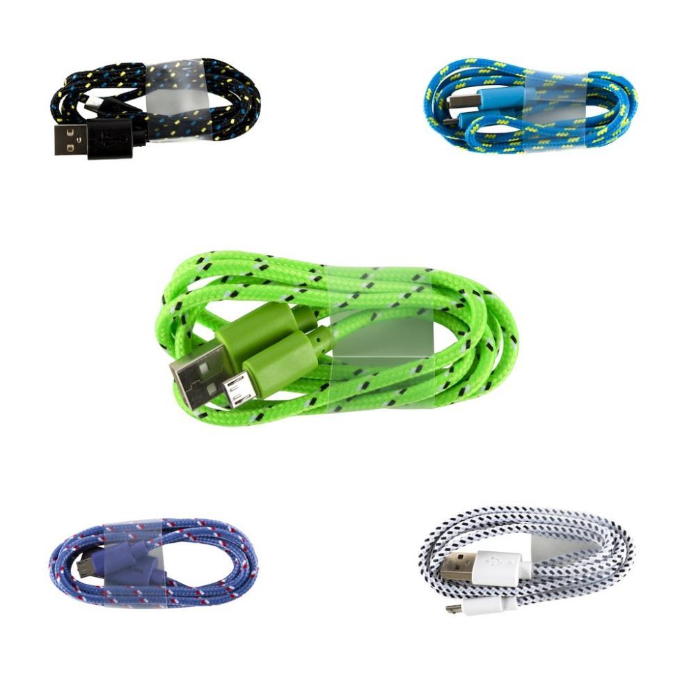 Cablu microUSB, textil, 1m, diverse culori