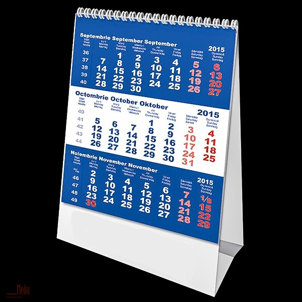 Calendar birou 10.5x14cm,Triptic,6f,2015