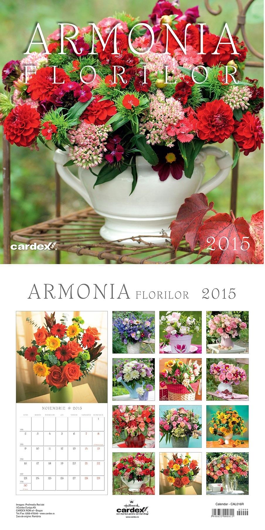 Calendar perete 30x30cm,Armonia Florilor,12f,2015