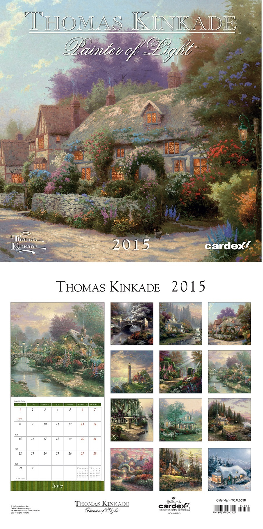 Calendar perete 30x30cm,Kinkade,12f,2015