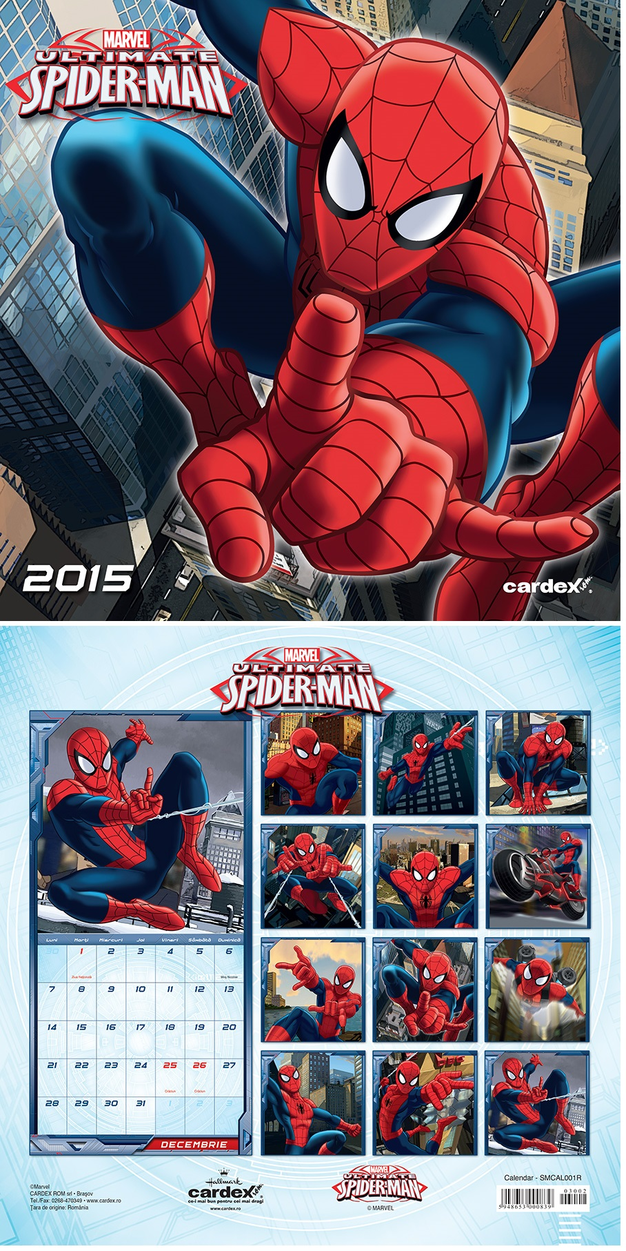 Calendar perete 30x30cm,Spiderman,12f,2015