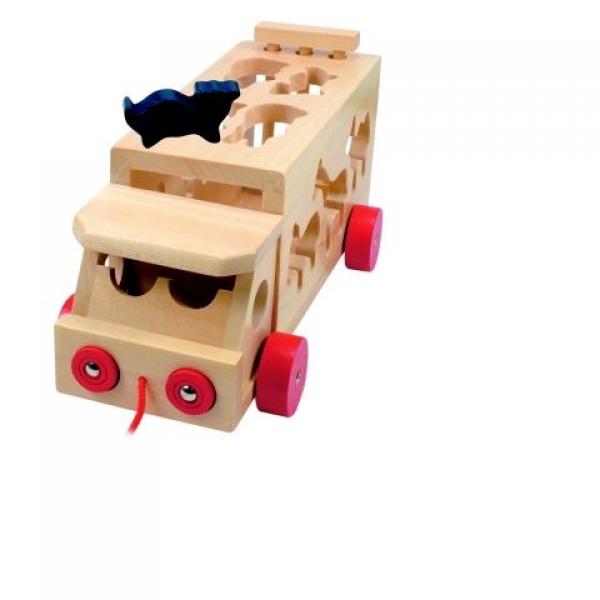Camion cu animale lemn