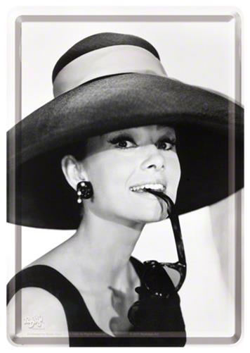 CARTE POSTALA AUDREY HEPBURN HAT & GLASSES