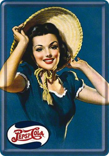 CARTE POSTALA PEPSI COLA LADY WITH HAT