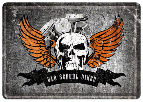CARTE POSTALA OLD SCHOOL BIKER SKULL