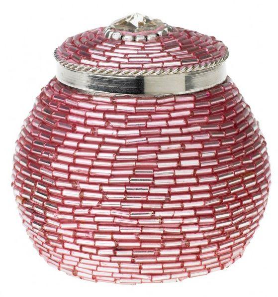 Caseta cu capac Lisbeth Dahl,décor cu margele roz,8cm