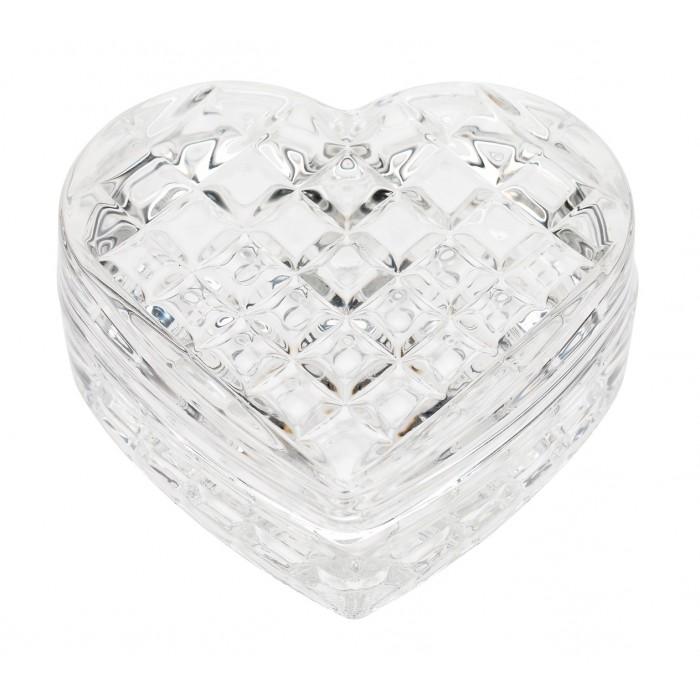 Caseta forma inima din sticla clara Lisbeth Dahl,model Arlechin 3cm