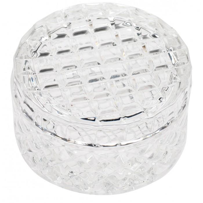 Caseta rotunda din sticla clara Lisbeth Dahl,model Arlechin 8cm