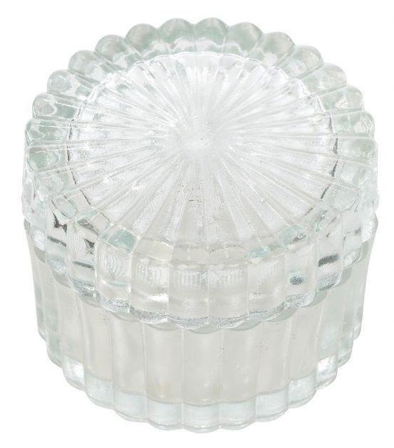 Caseta rotunda din sticla Lisbeth Dahl, cu caneluri 8,5cm