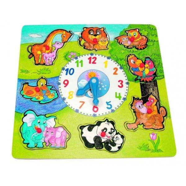 Ceas Puzzle cu animale, 30 x 30 cm