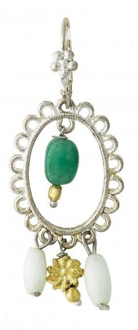 Cercei Lisbeth Dahl, verde cu argintiu,082