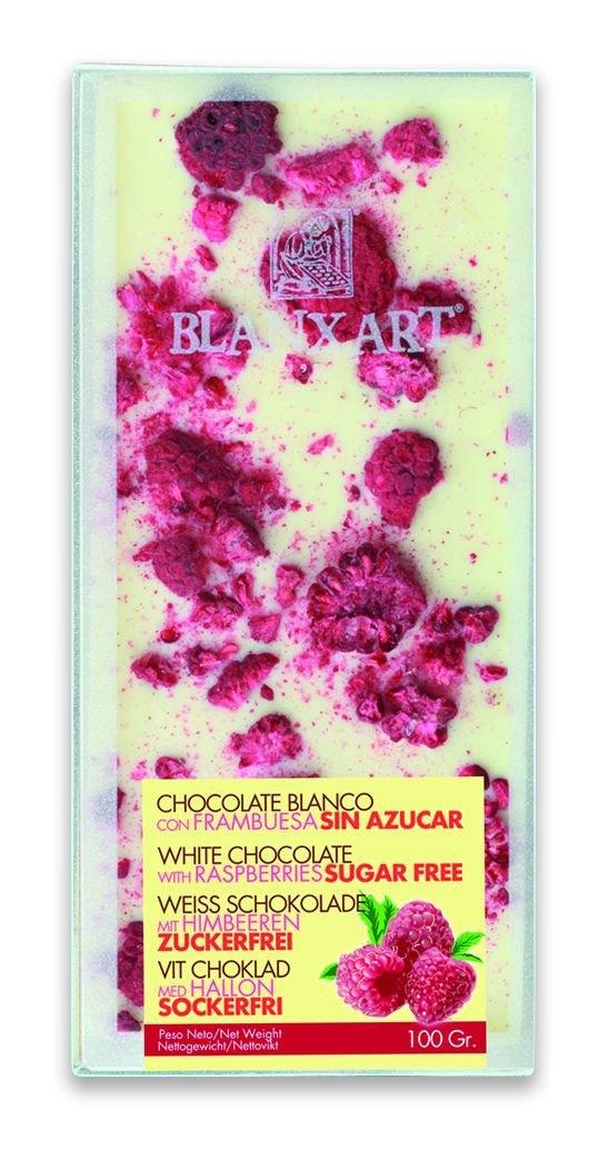 Ciocolata Blanxart fara zahar 100g, Alba cu zmeura