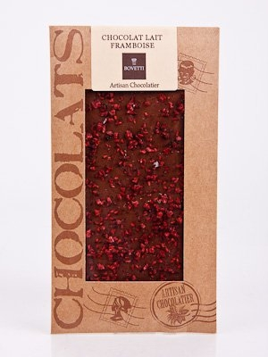 Ciocolata Bovetti 100g Alba Zmeura cristalizata