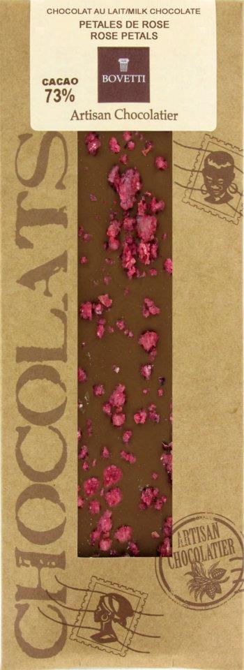 Ciocolata Bovetti 50g Lapte Trandafir cristalizat