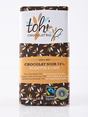Ciocolata Tohi 70g Neagra , Alune & Cafea