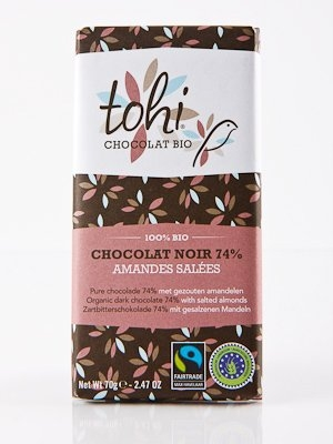 Ciocolata Tohi 70g, Neagra cu migdale