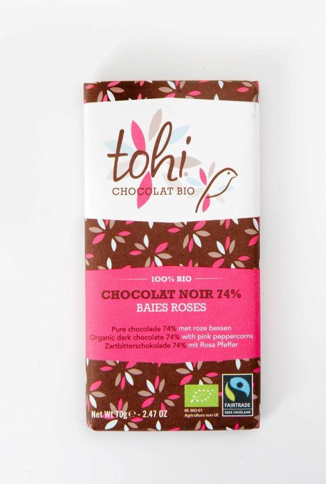Ciocolata Tohi 70g, Neagra cu piper roz