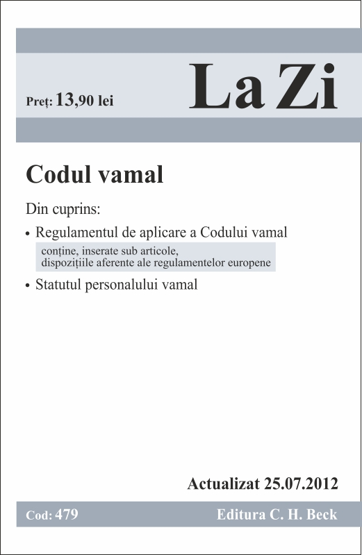 CODUL VAMAL LA ZI COD 479 ACTUALIZARE 25.07.2012
