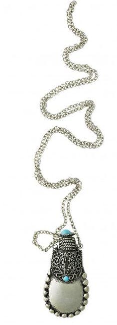 Colier, Lisbeth Dahl argintiu,pandantiv pietre turcoaz 074