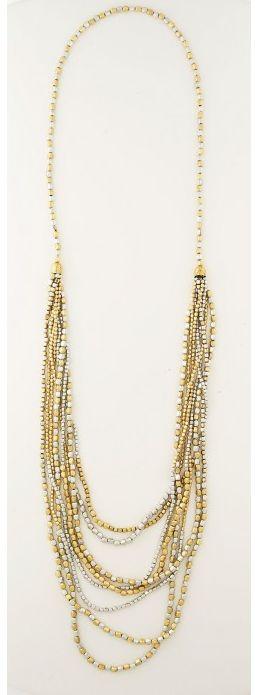 Colier Lisbeth Dahl,auriu argintiu, 8 randuri,093