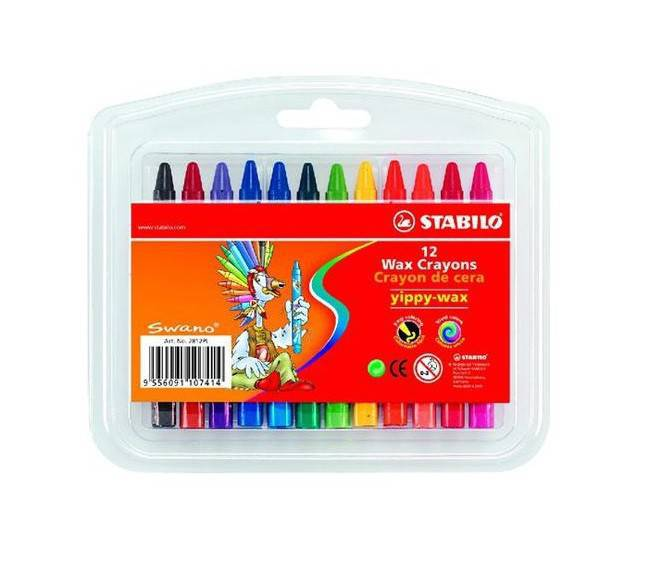 Creioane cerate,12b/set,Stabilo YippyWax