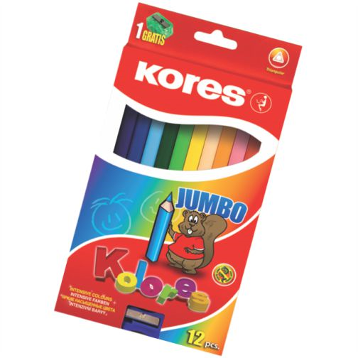 Creioane colorate,12b/set,ascut,Kores