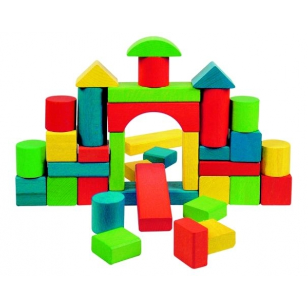 Cuburi lemn Color Maxi, 36 pcs.